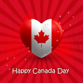 Feliz dia do canadá! coração com elementos de bandeira