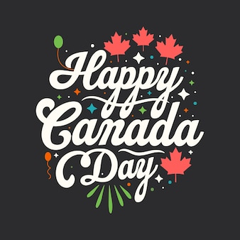 Feliz dia do canadá, design de letras do dia do canadá.