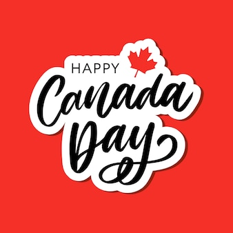 Feliz dia do canadá mão desenhada caligrafia