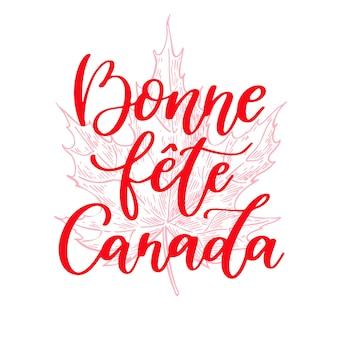 Feliz dia do canadá rotulação de vetor em francês.