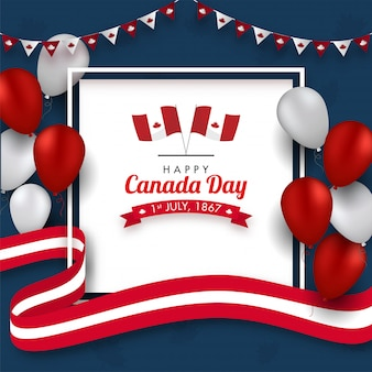 Feliz dia do canadá texto com bandeiras canadenses, fitas onduladas e balões brilhantes decorados sobre fundo azul.