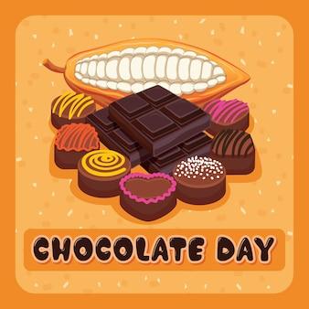 Feliz dia do chocolate com cacau