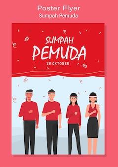 Feliz dia do compromisso da juventude da indonésia