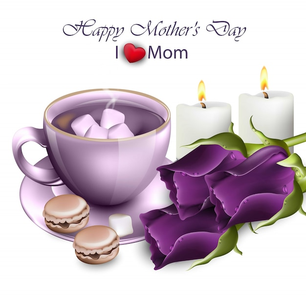 Feliz dia do dia das mães com rosas ultra violetas vector