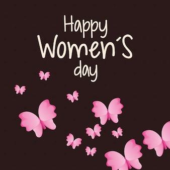 Feliz dia do dia das mulheres borboleta
