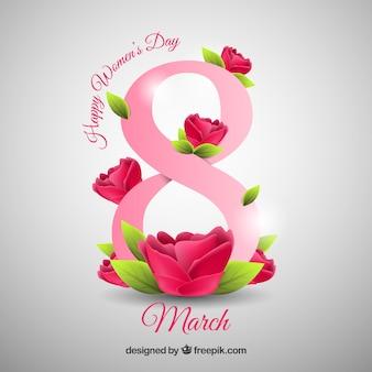 Feliz dia do dia das mulheres em estilo realista