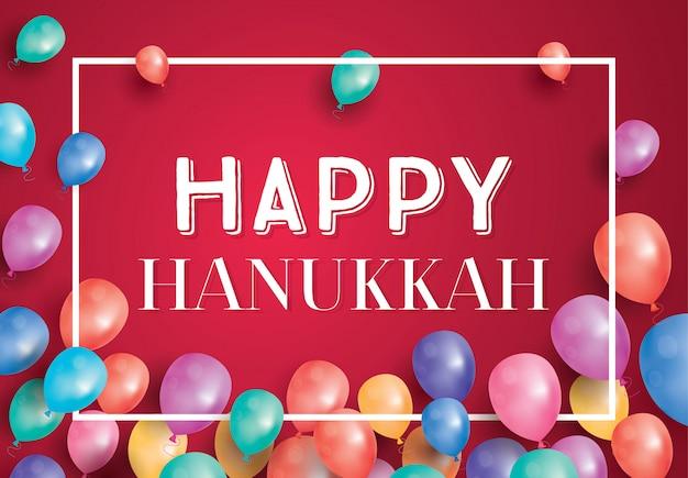 Feliz dia do hanukkah cartão com balões de voo e quadro branco.
