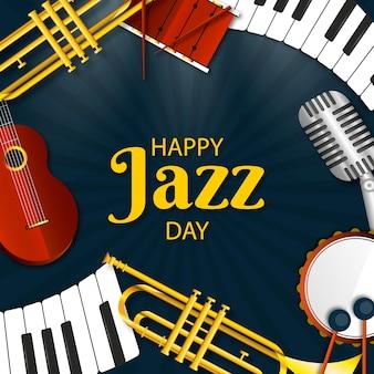 Feliz dia do jazz design realista