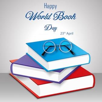 Feliz dia do livro do mundo com pilha de livros sobre fundo branco