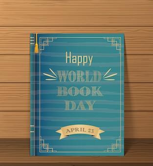 Feliz dia do livro do mundo em um fundo de madeira