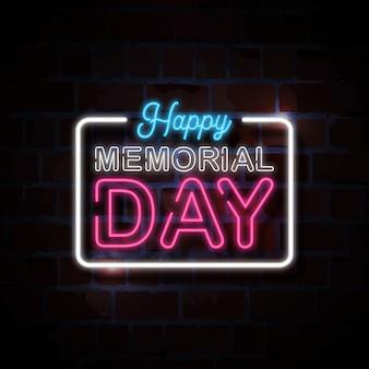 Feliz dia do memorial néon estilo sinal ilustração
