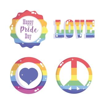Feliz dia do orgulho, comunidade lgbt de arco-íris de coração de amor de gênero