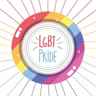 Feliz dia do orgulho, comunidade lgbt de rótulo de fronteira de arco-íris
