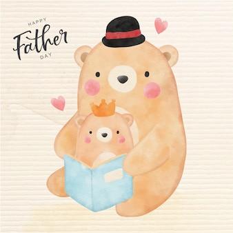Feliz dia do pai com urso fofo