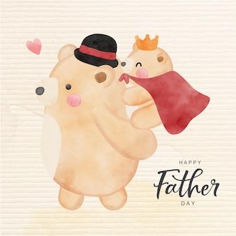 Feliz dia do pai com urso fofo Vetor Premium