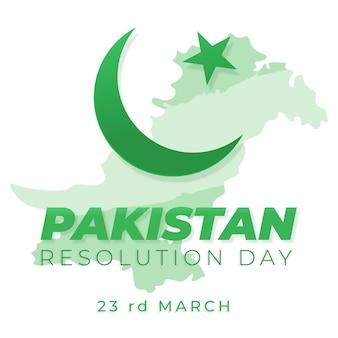 Feliz dia do paquistão desenhada à mão e lua