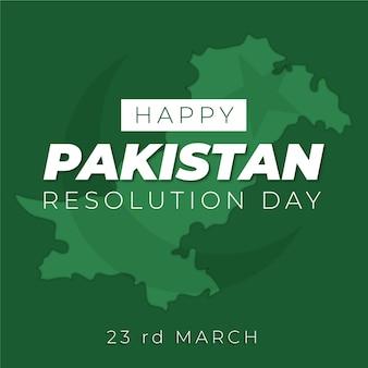 Feliz dia do paquistão desenhado à mão