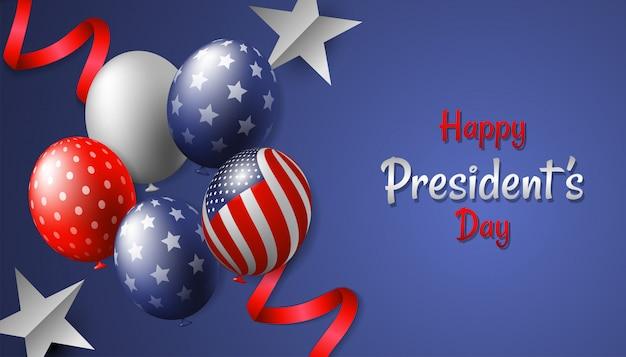 Feliz dia do presidente com balão realista, estrela e fita
