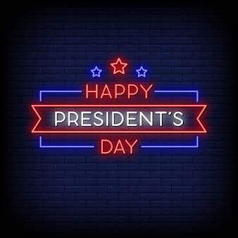 Feliz dia do presidente sinais de néon estilo texto