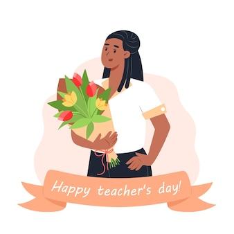 Feliz dia do professor, a professora segura um buquê nas mãos
