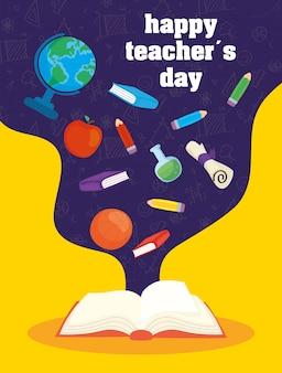 Feliz dia do professor celebração com livro e suprimentos