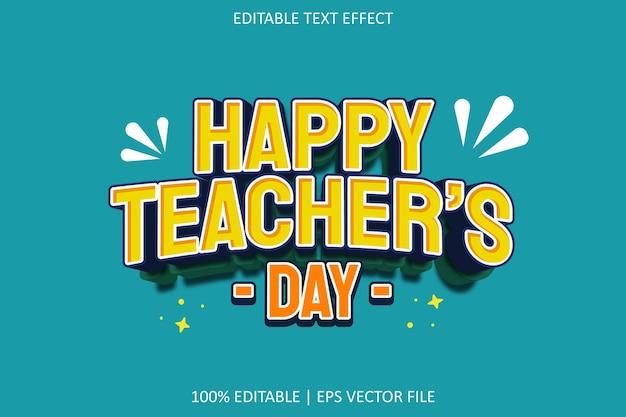 Feliz dia do professor com efeito de texto editável em estilo desenho animado