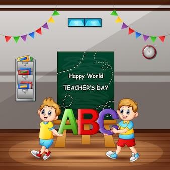 Feliz dia do professor com o aluno segurando a carta abc