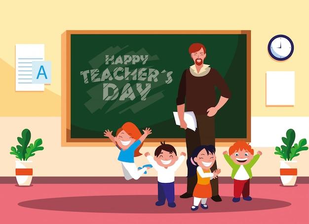 Feliz dia do professor com professor e alunos em sala de aula