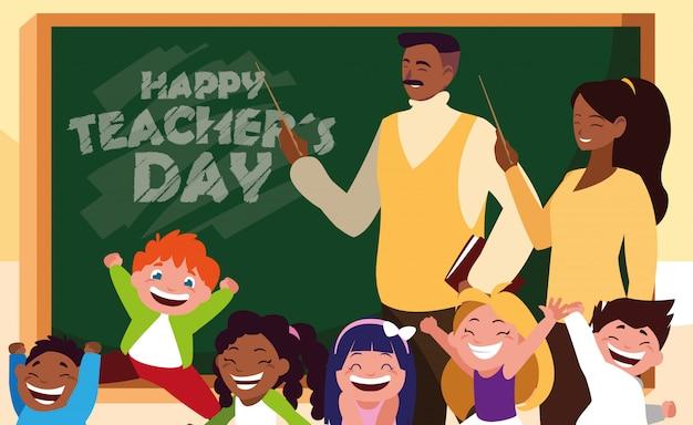 Feliz dia do professor com professores preto e alunos