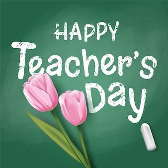 Feliz dia do professor com tulipas cor de rosa no quadro-negro. vetor