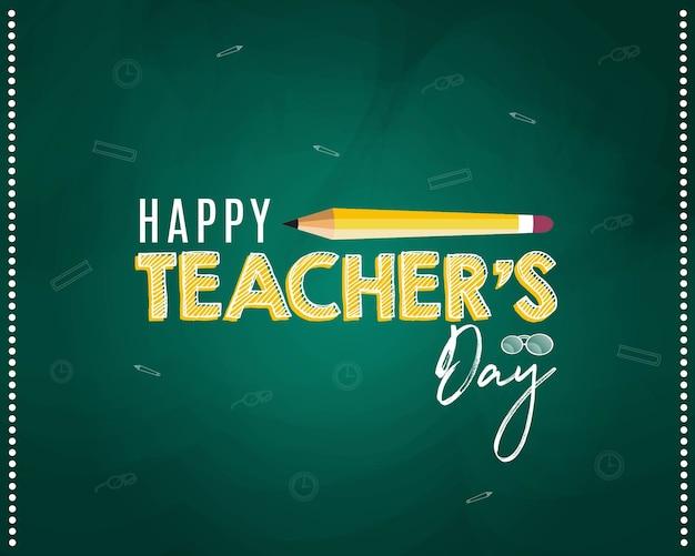 Feliz dia do professor design de banner com lápis