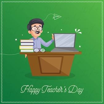 Feliz dia do professor design de banner com professor mostrando laptop