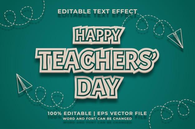 Feliz dia do professor, modelo de efeito de texto editável, estilo retro, vetor premium