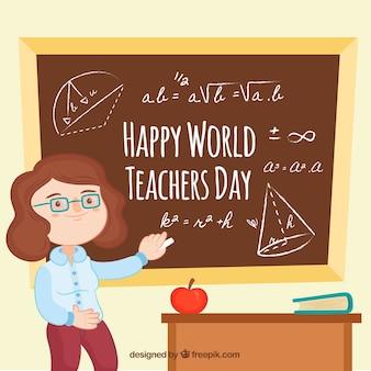 Feliz dia do professor, professor com um quadro-negro