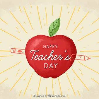 Feliz dia do professor, uma maçã e um lápis