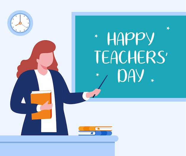 Feliz dia do professor, vetor de ilustração plana de conceito de educação