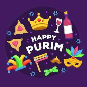 Feliz dia do purim banner