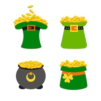 Feliz dia do st. patricks definido. chapéu de duende verde e pote de ouro da sorte.