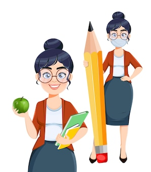 Feliz dia do techer personagem de desenho animado de uma professora bonita com duas poses