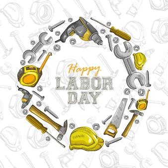 Feliz dia do trabalhador: coleção de ilustração