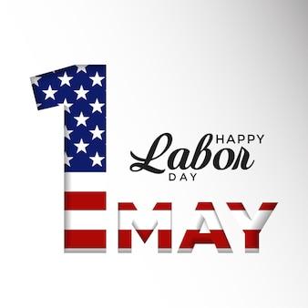 Feliz dia do trabalho, 1 de maio, ilustração vetorial, feliz, moderno, dia do trabalho, 1 de maio, fundo com bandeira da américa
