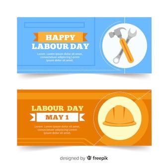 Feliz dia do trabalho bandeira plana para web e mídias sociais