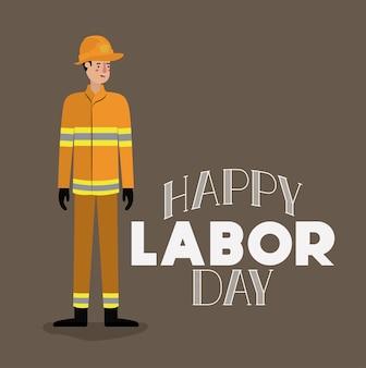 Feliz dia do trabalho cartão com bombeiro