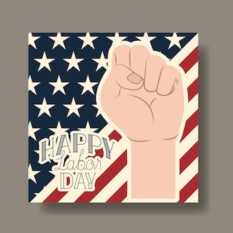 Feliz dia do trabalho cartão com mão punho e bandeira dos eua
