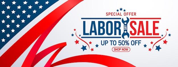 Feliz dia do trabalho. cartaz de promoção de venda ou banner para o dia do trabalho americano. ilustração vetorial eps10