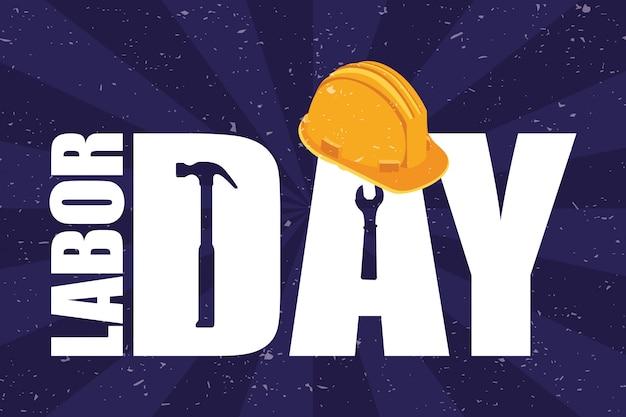 Feliz dia do trabalho celebração com capacete e letras