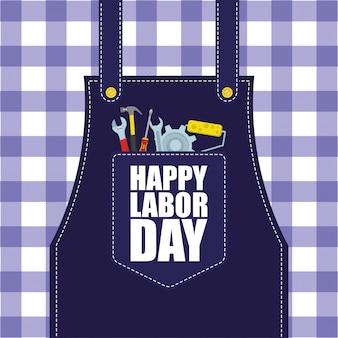 Feliz dia do trabalho celebração com ferramentas no bolso