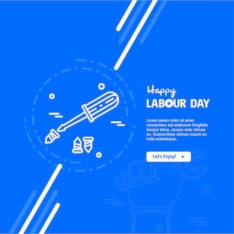 Feliz dia do trabalho design com vetor de tema azul