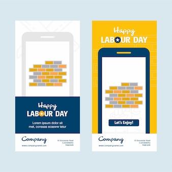 Feliz dia do trabalho design móvel