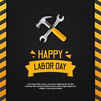 Feliz dia do trabalho. dia internacional do trabalhador. com construção de linha amarela com martelo 3d realista e chave com parede preta. modelo de banner de pôster